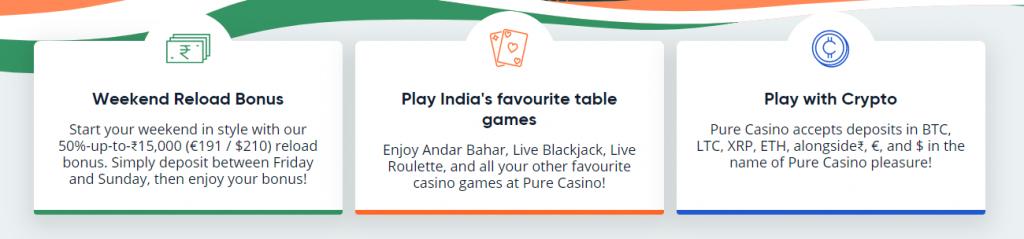 Screenshot of pure casino registration bonus