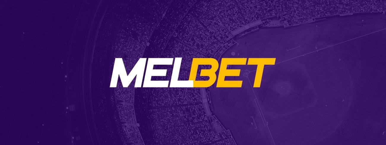 melbet logo on purple sports background